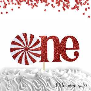 1 pc one peppermint candy boy girl cake topper first birthday cake smash red white glitter winter wonderland onederland christmas candy land