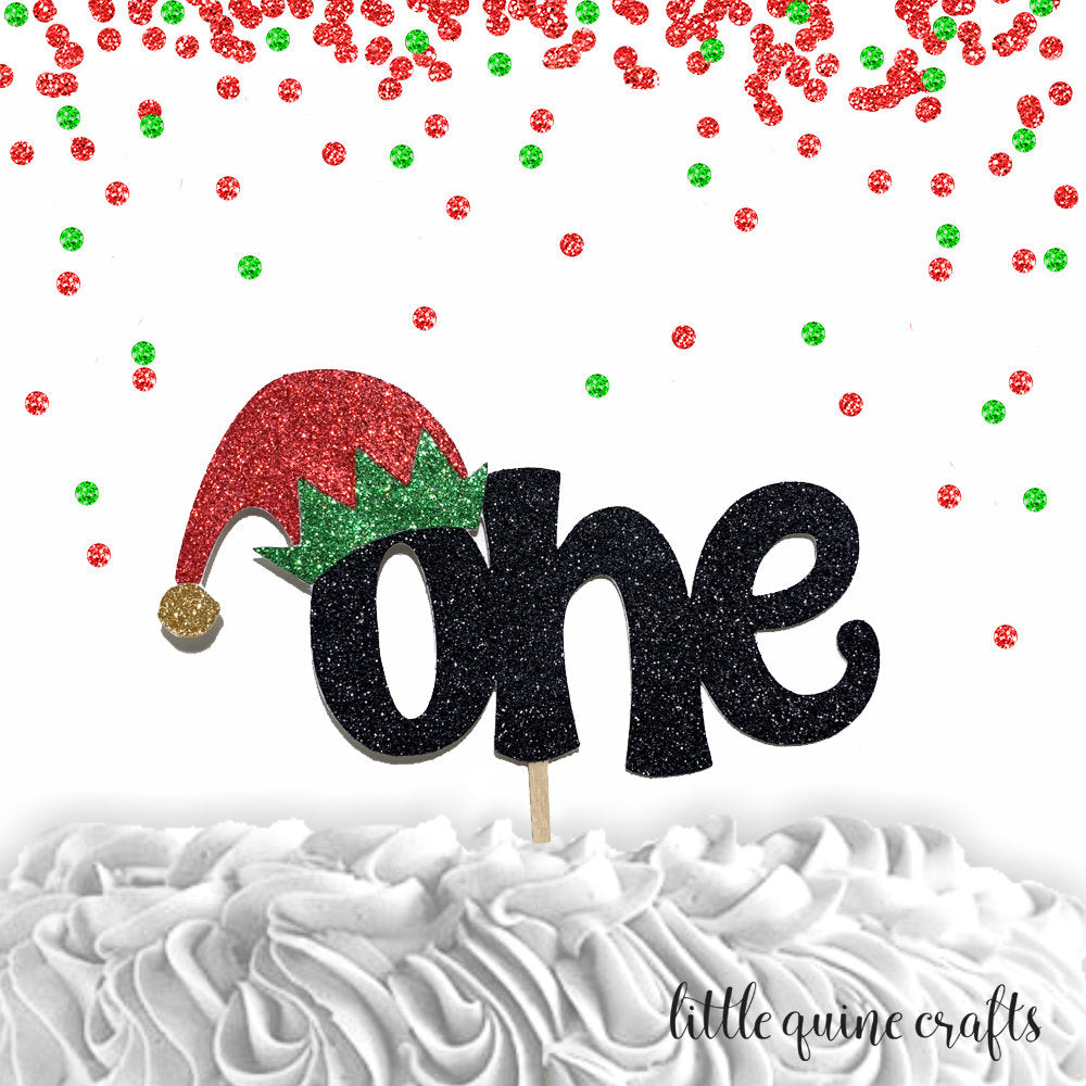 1 pc one elf hat boy girl cake topper first birthday cake smash red green glitter winter wonderland onederland one derland christmas