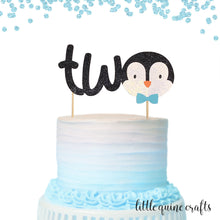 Load image into Gallery viewer, 1 pc two or four cute penguin toddler boy girl cake topper 2nd 4th birthday black white glitter bow wobble winter wonderland christmas