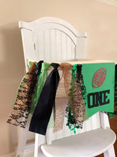 Load image into Gallery viewer, One Football Rag Tie pennant Banner Green Brown Black Glitter High Chair Banner cake smash Photo prop Decor sports touch down 1st Birthday