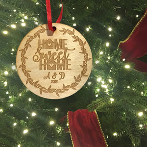 1 pc Home Sweet Home Personalized Custom Initial Letter EST Year birch wood laser cut wreath Christmas ornament Housewarming Keepsake Gift