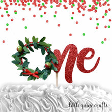 Load image into Gallery viewer, 1 pc one christmas wreath boy girl cake topper first 1st birthday cake smash red green glitter winter wonderland onederland christmas