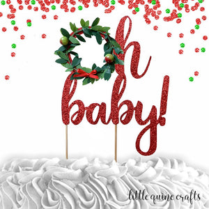 1 pc oh baby Christmas wreath boy girl cake topper baby shower cake smash red white glitter winter wonderland