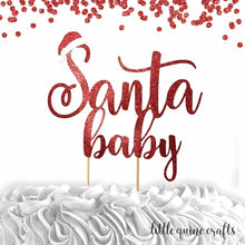 Load image into Gallery viewer, 1 pc Santa baby boy girl cake topper baby shower cake smash red white glitter winter wonderland christmas hat