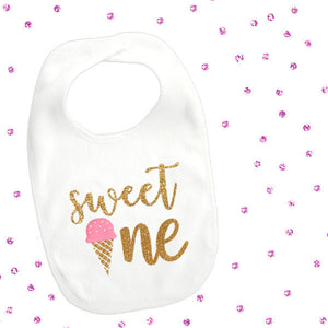 1 piece sweet one ice cream pink mint lt blue gold glitter bib toddler girl for first 1st birthday gift cake smash photo prop summer