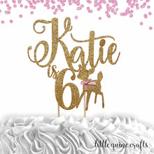 Load image into Gallery viewer, 1 pc custom personalize ANY name and age deer fawn pink blue DOUBLE SIDED gold glitter cake topper woodland theme boy girl winter wonderland