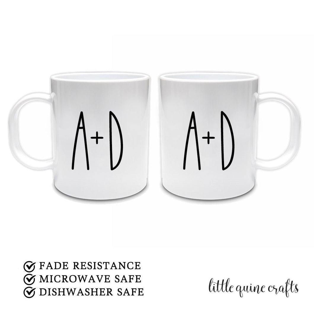 1 or 2 pcs set personalised initial name Wifey Hubby coffee mug newlywed bride groom wedding engagement anniversary gift raedunn inspired