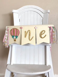 One hot air balloon Rag Tie pennant Banner Gold Glitter High Chair Banner pennant cake smash Photo prop Decoration up up & away 1st Birthday