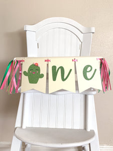 One cute cactus girl flowers Rag Tie pennant Banner pink Green Glitter High Chair Banner cake smash Photo prop Decor First fiesta birthday