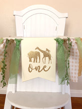 Load image into Gallery viewer, One safari jungle animals Rag Tie pennant Banner green Glitter High Chair Banner cake smash Photo prop Decor lion monkey 1st Birthday