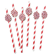 Load image into Gallery viewer, 12 pcs Peppermint red white glitter stripe paper straws first birthday baby shower winter onederland candy land wonderland christmas theme
