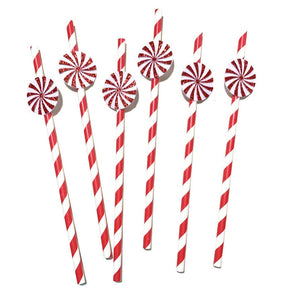 12 pcs Peppermint red white glitter stripe paper straws first birthday baby shower winter onederland candy land wonderland christmas theme