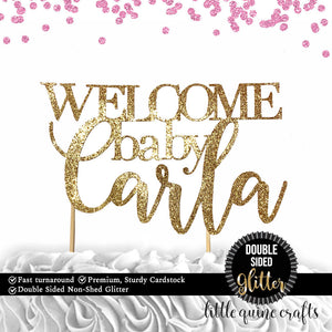 1 pc custom personalize Welcome ANY baby name DOUBLE SIDED silver gold glitter cake topper party theme baby shower boy girl gender reveal