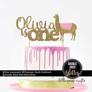 1 pc custom ANY personalise name is one llama DOUBLE SIDED gold yellow cake topper toddler baby boy girl spring summer fiesta no probllama