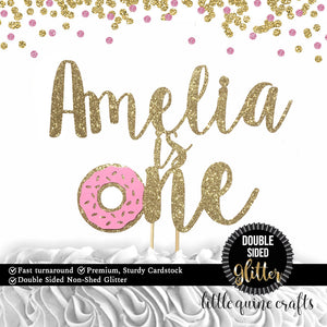 1 pc custom personalise name is one donut grow up DOUBLE SIDED Gold Silver Glitter Cake Topper Toddler boy girl first Birthday smash cake