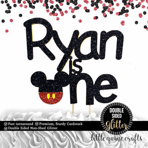 1 pc custom personalised ANY name is one Mickey inspired DOUBLE SIDED black red glitter cake topper cake smash first birthday toddler boy