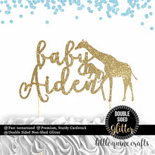Load image into Gallery viewer, 1 pc custom ANY baby name personalised safari cake topper giraffe monkey animals jungle baby shower boy girl DOUBLE SIDED gold glitter