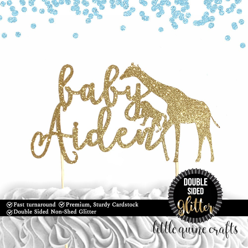 1 pc custom ANY baby name personalised safari cake topper giraffe monkey animals jungle baby shower boy girl DOUBLE SIDED gold glitter