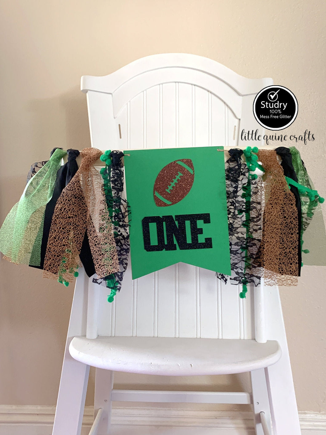 One Football Rag Tie pennant Banner Green Brown Black Glitter High Chair Banner cake smash Photo prop Decor sports touch down 1st Birthday