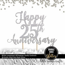 Load image into Gallery viewer, 1 pc Happy 25th or custom any years wedding Anniversary DOUBLE SIDED Silver Gold cake topper party decoration