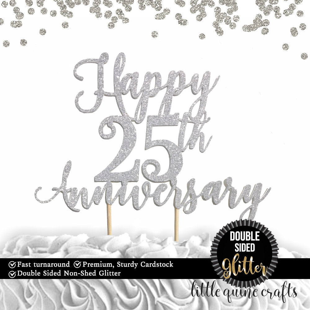 1 pc Happy 25th or custom any years wedding Anniversary DOUBLE SIDED Silver Gold cake topper party decoration