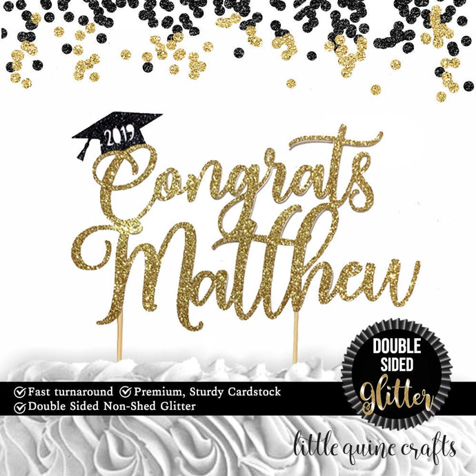 1 pc Congrats 2019 custom Any name personalised Graduation hat cap DOUBLE SIDED gold black glitter cake topper congrats grad party decor