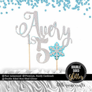 1 pc custom personalize name is 1 2 3 4 5 ANY age Snowflake DOUBLE SIDED Silver Glitter Blue Cake Topper boy girl Birthday winter wonderland