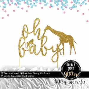 1 pc oh baby safari animals jungle giraffe monkey cake topper DOUBLE SIDED gold green black silver glitter for baby shower baby girl boy