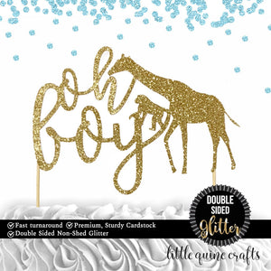 1 pc oh boy safari animals jungle giraffe monkey cake topper DOUBLE SIDED gold black silver green glitter for baby shower baby boy