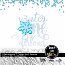 Load image into Gallery viewer, 1 pc Winter Onederland Snowflake DOUBLE SIDED silver glitter baby blue cake topper for cake smash first birthday boy girl winter wonderland