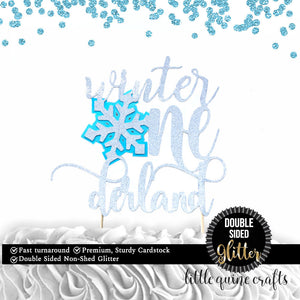1 pc Winter Onederland Snowflake DOUBLE SIDED silver glitter baby blue cake topper for cake smash first birthday boy girl winter wonderland