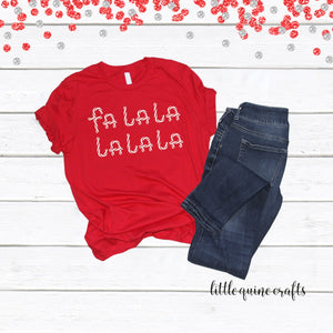 1 pc Falalalalalala Christmas Outfit 100% COTTON Baby Toddler Kid Men Women Unisex family match short sleeve t-shirt Holiday gift candy cane