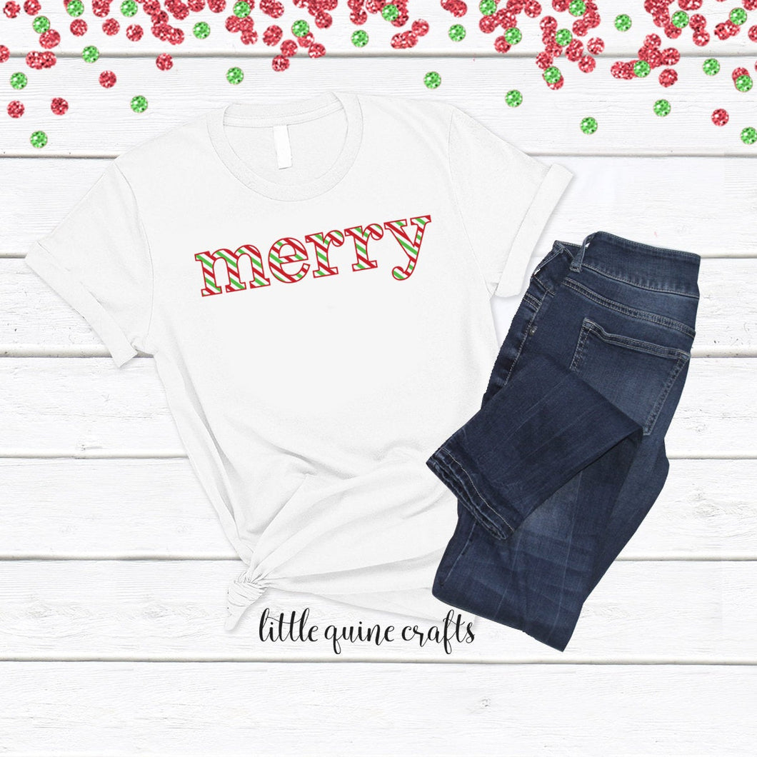 1 pc merry Christmas stripe candy cane 100% COTTON Baby Toddler Kid Men Women Unisex family match short sleeve t-shirt Holiday gift