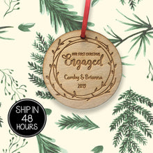 Load image into Gallery viewer, 1 pc First Christmas Engaged Personalized Custom name birch wood laser cut Christmas tree ornament Housewarming Keepsake Gift