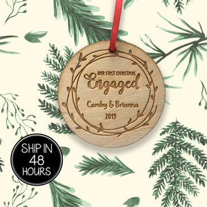 1 pc First Christmas Engaged Personalized Custom name birch wood laser cut Christmas tree ornament Housewarming Keepsake Gift