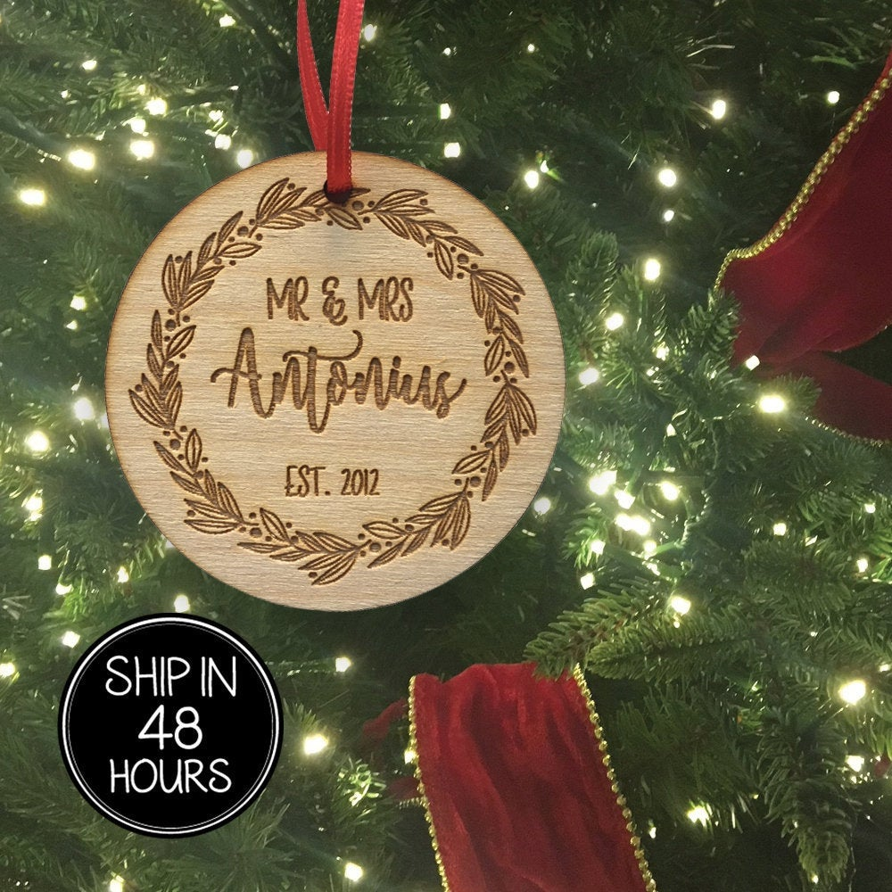 1 pc Mr and Mrs Personalized Custom Family last name EST Year birch wood laser cut wreath Christmas tree ornament Housewarming Keepsake Gift
