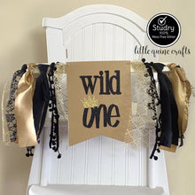 Load image into Gallery viewer, 1 pc Wild One Crown Rag Tie pennant Banner Gold Kraft Black Glitter High Chair Banner cake smash Photo prop Decor 1st Birthday