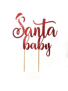 1 pc Santa baby boy girl cake topper baby shower cake smash red white glitter winter wonderland christmas hat