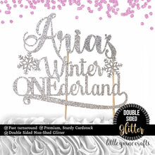 Load image into Gallery viewer, 1 pc custom personalize ANY Name Winter Onederland Snowflakes DOUBLE SIDE silver gold glitter cake topper first birthday boy girl wonderland