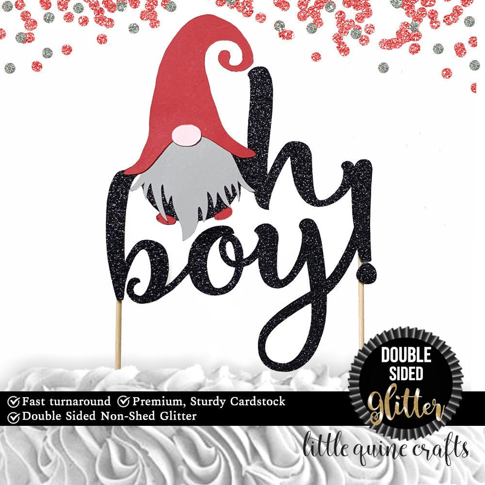 1 pc oh boy! gnome cake topper baby shower DOUBLE SIDED black glitter winter wonderland Christmas baby boy