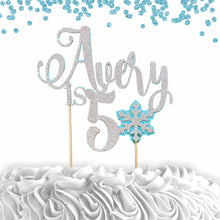 Load image into Gallery viewer, 1 pc custom personalize name is 1 2 3 4 5 ANY age Snowflake DOUBLE SIDED Silver Glitter Blue Cake Topper boy girl Birthday winter wonderland