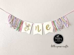 One Bunny's ear Rag Tie pennant Banner Gold Glitter boy girl High Chair cake smash Photo prop Decor Some Bunny is One First 1st Birthday