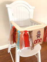 Load image into Gallery viewer, One Gingerbread cookie boy girl Christmas wreath Rag Tie pennant Banner High Chair Banner cake smash Photo prop winter 1st Birthday
