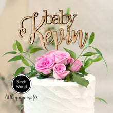 Load image into Gallery viewer, 1 pc custom personalise ANY baby name raw wood hand painted silver gold baltic wood laser cut baltic wood rustic cake topper baby shower
