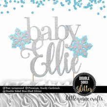 Load image into Gallery viewer, 1 pc custom personalize baby name Snowflakes pink blue DOUBLE SIDED silver gold glitter cake topper baby shower boy girl winter wonderland