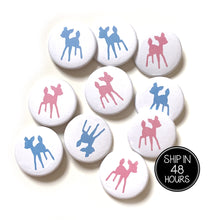 Load image into Gallery viewer, 10 pcs Cute baby deer fawn boy girl Pink Blue badge pin pinback button baby shower gender reveal birthday party favors gift woodland animal