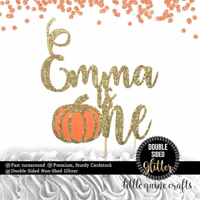 1 pc custom ANY name is one pumpkin fall autumn DOUBLE SIDED gold glitter orange cake topper first birthday boy girl cake smash thanksgiving