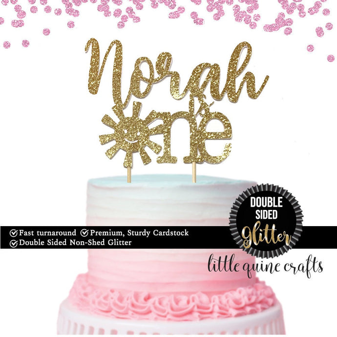 1 pc custom ANY name personalised is one sunshine sun cake topper boy girl cake smash first birthday DOUBLE SIDED gold silver glitter