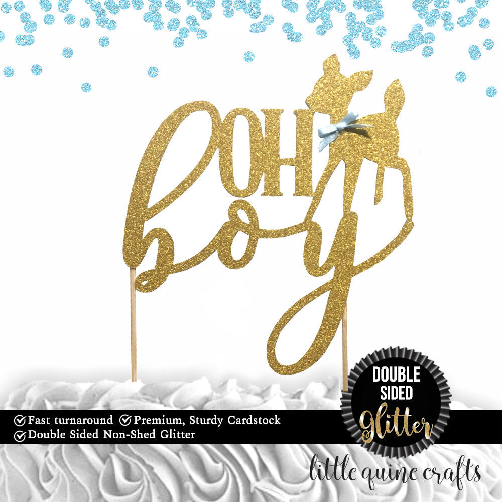 1 pc OH boy deer script DOUBLE SIDED Gold Glitter Cake Topper for baby shower boy woodland animal