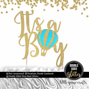 1 pc it's a boy hot air balloon DOUBLE SIDED Gold Glitter Cake Topper baby shower up up and away party decoration